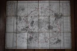 Carte  13 Et 19 Janvier 1790  Département De La Seine   Carte Entoilée D'époque - Carte Geographique