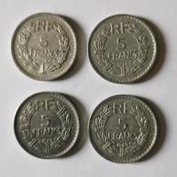 Lot De 4 Pièces 5 FRANCS LAVRILLIER 1945 - 1946 - 1947 - 1949 - K. 10 Franchi