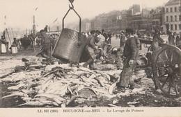F14 - 62) BOULOGNE SUR MER - LE LAVAGE DU POISSON - (TRES ANIMEE - PECHE - PECHEURS - BEAU PLAN - Boulogne Sur Mer