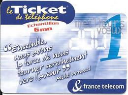 TICKET TELEPHONE-FRANCE-PR72-2001-ECHANTILLON 6Mn-VOEUX 2001 Non Gratté-NEUF-TBE - Frankreich