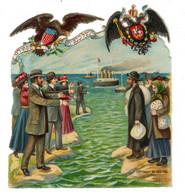 Chromo Découpi, 1909, Juifs Viennent Vers Etats-Unis, USA, Env. 10 X 8,7 Cm - Unclassified