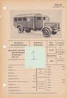 Camion LKW Lastkraftwagen Vrachtwagen Fiche Technique Datenblatt Allemande German - Vehicles