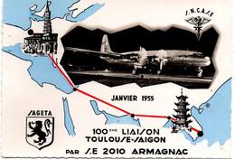 100ème Vol Toulouse Saïgon Par Armagnac SAGETA 1955 - Carte Spéciale Et Bureau Temporaire - 2 Scans - Vietnam