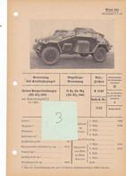 Véhicule Blindé Pantserwagen Armour Panzer Funk Wagen Fiche Technique Datenblatt Allemande German - Vehicles