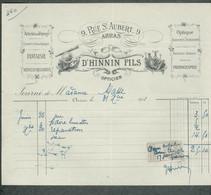 Ancienne Facture 59 Nord ARRAS Articles De Voyage Religieux Hinnin Fils Timbre Fiscal 1911 - 1900 – 1949