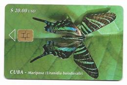 CUBA, Used Chip Phonecard, In Perfect Condition. Mariposa, # Cuba-26 - Cuba