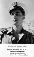 Faire-part Souvenir Du Comte Gabriel De ROUX   Lieutenant De Vaisseau Mort En Service Commandé Le 14/10/1964 - Décès