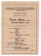 1955 YUGOSLAVIA, CROATIA, ZAGREB, JUDAICA, CONCERT PROGRAM, ISAAC STERN, VIOLINE, A. ZAKIN, PIANO, - Programas