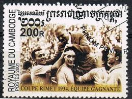 2001 - CAMBOGIA / CAMBODIA - SQUADRA VINCITRICE COPPA RIMET 1934 / RIMET CUP WINNING TEAM 1934 - USATO / USED. - Cambodia