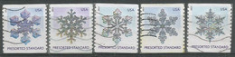 USA 2013 Snowflakes Presorted - Cpl 5v Set Really Used And Cancelled By USPS - Coils & Coil Singles