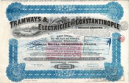 Titre Ancien - Tramways & Electricité De Constantinople - Titre De 1921 - N° 239020 - Déco - Railway & Tramway