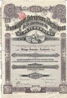 Titre Ancien - Tramways Et Entreprises Electriques De La Banlieue De St-Pétersbourg - Titre De 1912 - N° 067298 - Railway & Tramway