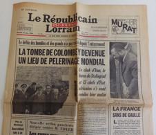 Le Républicain Lorrain 14 Novembre 1970 Une : Général Charles De Gaulle, La Tombe De Colombey Devenue Lieu De Pélerinage - 1950 - Nu