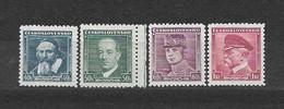 Czechoslovakia 1935 MNH ** Mi 347-350 Sc 212, 215-217 Komensky, Benes, Stefanik, Masaryk Tschechoslowakei. C17 - Czechoslovakia