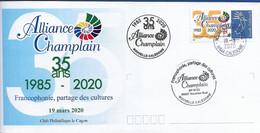 NOUVELLE CALEDONIE (New Caledonia)- Enveloppe événementielle Avec Timbre Personnalisé - 2020 - Alliance Champlain - Covers & Documents