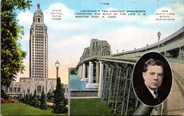 Louisiana Baton Rouge The State Capitol And Huey P Long Bridge New Orleans - Baton Rouge