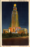 Louisiana Baton Rouge The State Capitol At Night 1948 Curteich - Baton Rouge