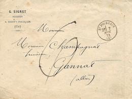 1873- Enveloppe à En-tête De Saint-Pourçain ( Allier ) Cad T16 Taxe 6 D Manuscrite - 1849-1876: Classic Period