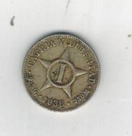Cuba 1 Centavo 1938, F/VF, 40% Silver Coin, Rare. - Cuba