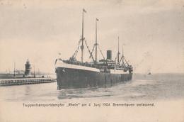 """T11- TRUPPENTRANSPORTDAMPFER """"RHEIN"""" AM - 4. JUNI 1904 - BREMERHAVEN VERLASSEND - ( 2 SCANS ) - Piroscafi"""