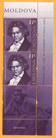 2020  Moldova Moldavie  250 Ludwig Van Beethoven Music, Violin, Piano, Symphony Germany Austria 2v Mint - Music