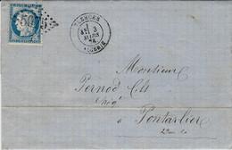 1874- Lettre De TLEMCEN / ALGERIE  Affr. N°60 Oblit. G C 5075 - 1849-1876: Periodo Clásico