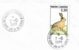 Timbres Sur Lettres 1988 N° 374 Lièvre Oblitération De Sant Julia Cote 2,50€ - Cartas
