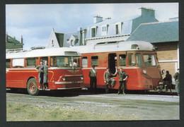 """Carte-photo Moderne """"Chemin De Fer Des Côtes Du Nord - Un Car Chausson Et Un Autorail ABH à Saint Brieuc"""" - Tram"""
