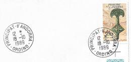 Timbres Sur Lettres 1989 N° 381 Pièce De Ceinture Obl. De Ordino Cote 5,50€ - Cartas