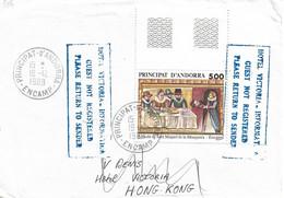 Timbres Sur Lettres 1989 N° 384 Retable Oblitération D'Encamp Cote 6,50€ - Cartas