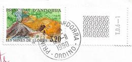 Timbres Sur Lettres 1990 N°386 Mines De Llorts Ordino Pour Madagascar Cote 7,50€ - Cartas