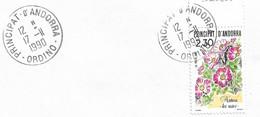 Timbres Sur Lettres 1990 N°393 Roses Oblitération D'Ordino Cote 2,50€ - Cartas