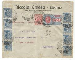 ITALIA ESPRES 30C +10C+25CX8 LETTERA LIVORNO 1922 TO FRANCE - Posta Espresso