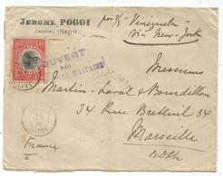 HAITI 2C PIASTRE SOLO LETTRE COVER JACMEL 30 OCT 1915 TO FRANCE PAR S/S VENEZUELA VIA NEW YORK + CENSURE DIEPPE - Haiti