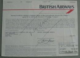 BA British Airways Plc Aviation Interim 25p Share Certificate - Aviazione