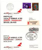 Zurich Frankfurt 1983 A/R - Swissair Airbus A 310 - 1er Vol Erstflug Maiden Flight - Primi Voli