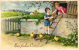 Ostern, Kinder, Korb Mit Eiern, Küken, 30er Jahre - Easter