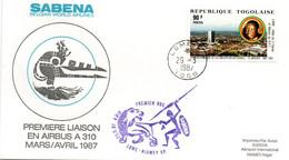 Lomé Niamey 1987 - Inaugural Flight 1er Vol Erstflug Primo Volo -  SABENA Airbus A 310 - Togo Niger - Lion - Togo (1960-...)