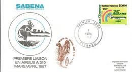 Cotonou Kano 1987 - Inaugural Flight 1er Vol Erstflug Primo Volo -  SABENA Airbus A 310 - Bénin Nigeria - Guépard - Benin – Dahomey (1960-...)