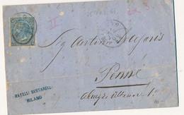 1866 FERRO DI CAVALLO II TIPO DA MILANO A PENNE CON TESTO - Marcophilia