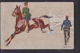 B32 /   Pferde Kunstkarte Rennpferd Hindernis Husaren / Weber Leskin - Caballos