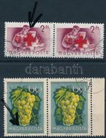O 1954/57 Gyümölcsök (I.) 60f + Vöröskereszt (IV.) 2Ft Párokban, Benne 2 Klf. Lemezhiba / Mi 1389 + Mi 1487 2 Diff. Stam - Unclassified