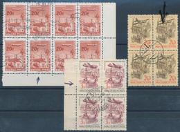 O 1958/66 3 Klf. Lemezhibás Bélyeg - Repülő Bélyegek Négyes és Nyolcastömbökben / 3 Diff. Stamps With Plate Variety (15. - Unclassified