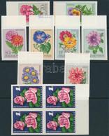 ** 1968/72 Virág (IX.) - Kerti Virágok ívszéli Vágott Sor + XV. Rózsakiállítás ívszéli Négyestömb / Mi 2452-2459 Imperfo - Unclassified