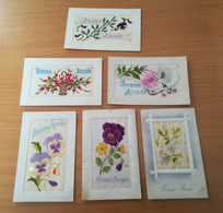 LOT DE 6 CPA FANTAISIE BRODEE  BONNE ANNEE - Embroidered
