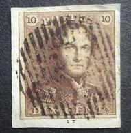 BELGIE 1849     Nr. 1 F    Op Fragment     Gestempeld  CW  200,00 - 1849 Epaulettes