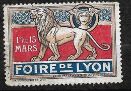 """France  Vignette """" Foire De Lyon 1er Au 15  Mars 1917 """"   Type 1  Neuf   B/ TB Soldé  ! ! ! - Tourisme (Vignettes)"""
