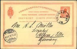 1908, DANISH WESTINDIES, Stationery Card From ST: THOMAS To Altona (ahmburg) - Dinamarca (Antillas)