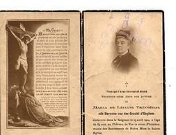 E 9 1924 Faire Part De Décès Maria De  Lécluse-trévoedal Au Chateau De Ker-is-stum  En Finistère  Vendue En L'état - Documentos Históricos
