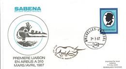 Bruxelles Kilimandjaro 1987 - Inaugural Flight 1er Vol Erstflug Primo Volo -  SABENA Airbus A 310 - Rhinoceros Tanzania - Posta Aerea